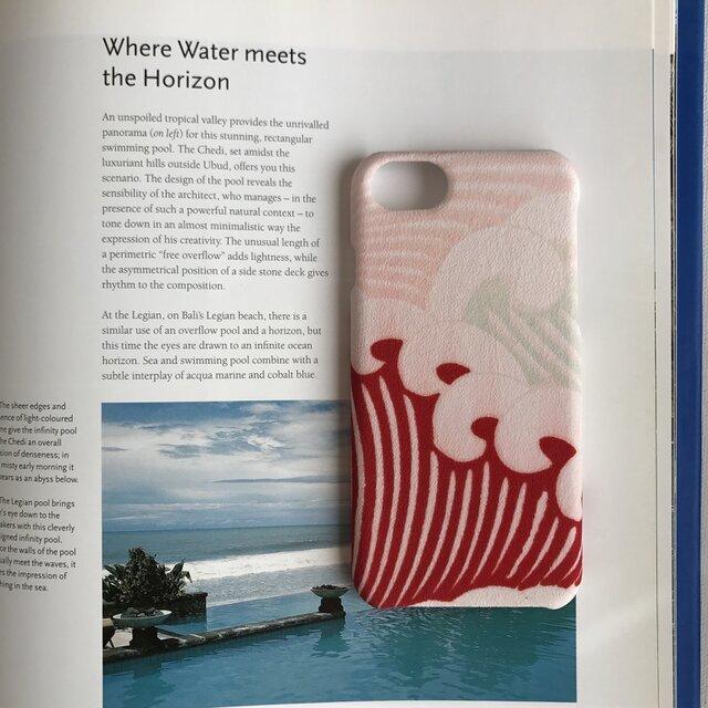 【 KIMONO 】希少☆アンティーク着物iPhoneケース(ピンクに赤の荒波)の画像1枚目