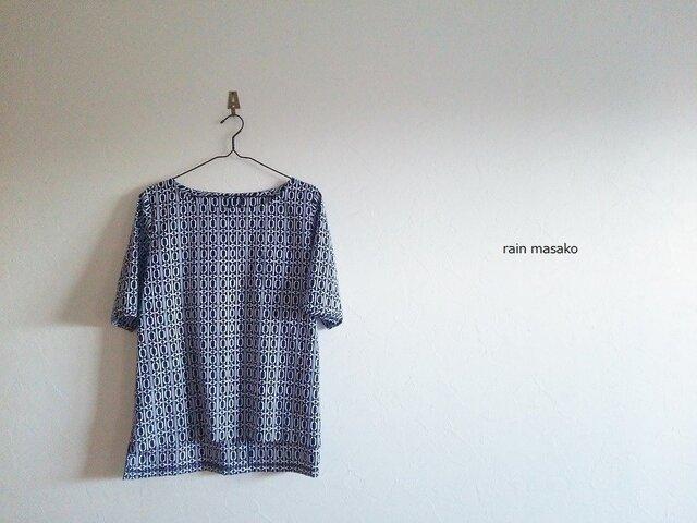 浴衣生地の胸ポッケTシャツ*後ろ下がりの画像1枚目