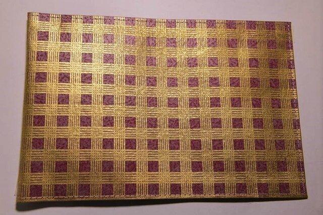 ギルディング和紙ブックカバー チェック赤地金箔の画像1枚目