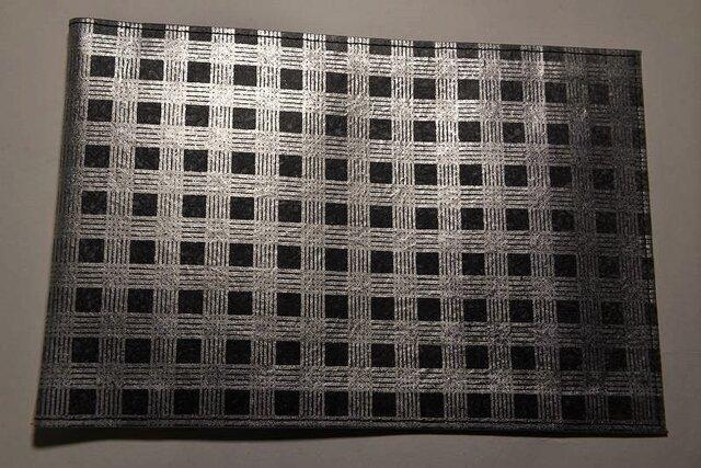 ギルディング和紙ブックカバー チェック黒地銀混合箔の画像1枚目