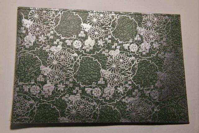 ギルディング和紙ブックカバー 菊緑地銀箔の画像1枚目