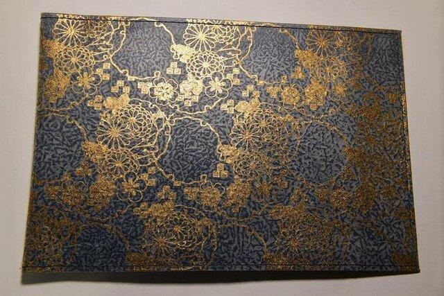 ギルディング和紙ブックカバー 菊紺地金箔の画像1枚目