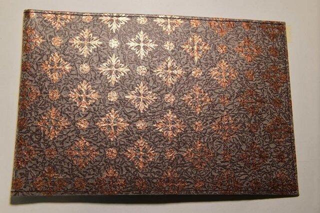 ギルディング和紙ブックカバー 洋花茶地銅箔の画像1枚目