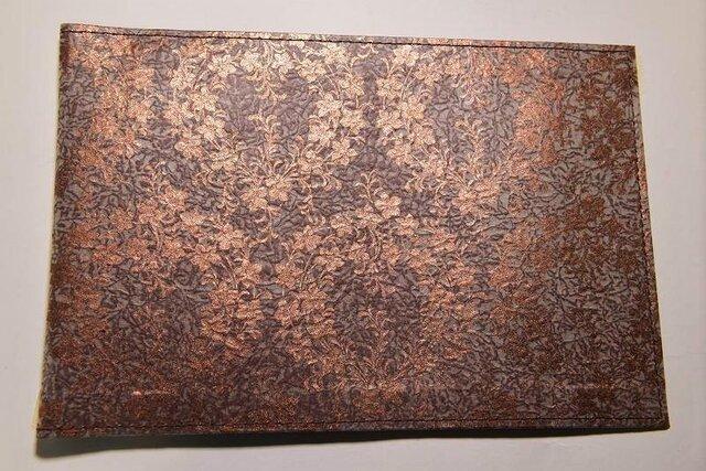 ギルディング和紙ブックカバー 桔梗茶地銅箔の画像1枚目
