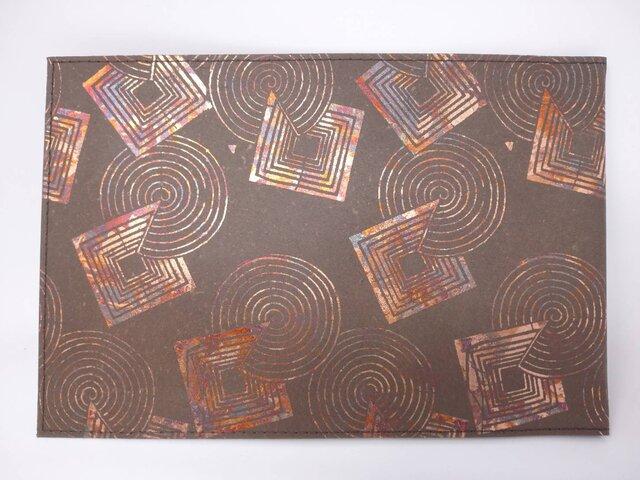 ギルディング和紙ブックカバー柿渋染め 丸四角赤混合箔の画像1枚目