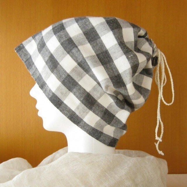 ネックウォーマーにもなる巾着ガーゼ帽子チェックCGL-004-Cの画像1枚目