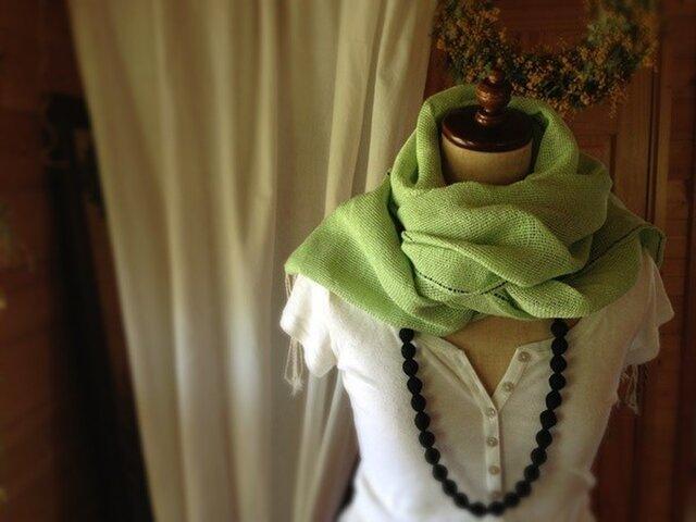 手織り リトアニアリネン糸 ストールの画像1枚目