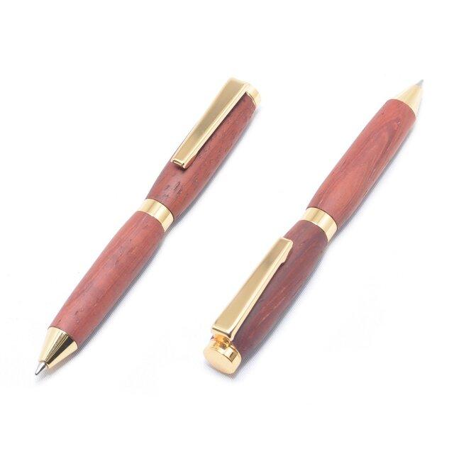 手作りの木製の回転式ミニボールペン(パドック;24金のメッキ)(CC-24G-PAD)の画像1枚目