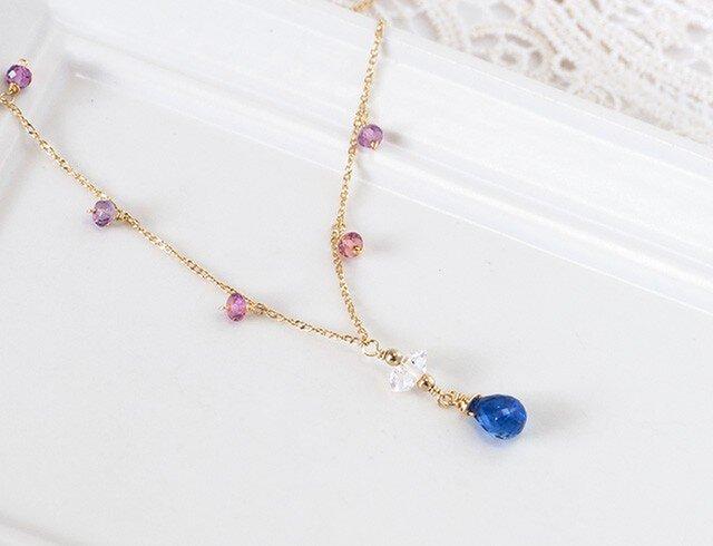 カイヤナイト+ハーキマ-ダイヤ+ピンクスピネルネックレスの画像1枚目