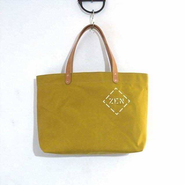 お好きな文字を鞄に如何ですか?パラフィン帆布からしシンプルトートM IND_BNP_0447の画像1枚目