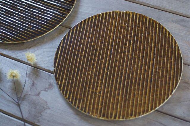 飴色の陶板のお皿(大)の画像1枚目