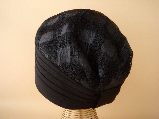 タック帽(チェック柄)03-BK【再販】の画像1枚目