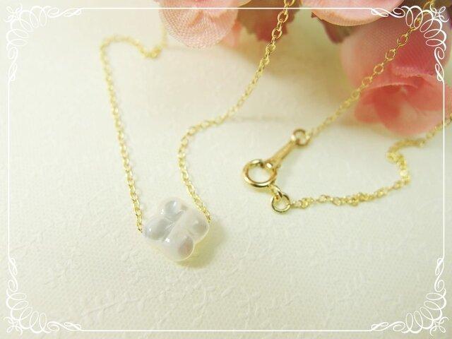 *感謝価格**K14GF***N61*高品質ホワイトシェルAAA(白蝶貝)☆クローバーのネックレスの画像1枚目
