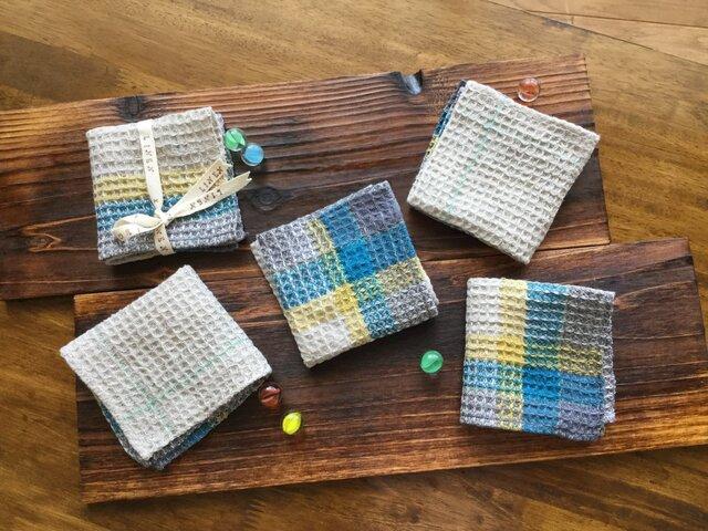リネン手織りのハンカチの画像1枚目