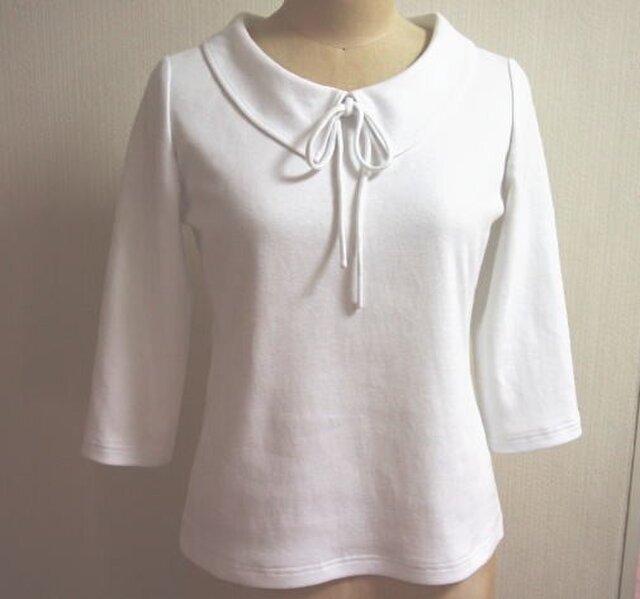 (再販2)ショールカラーのリボン大好きTシャツ(白色)の画像1枚目