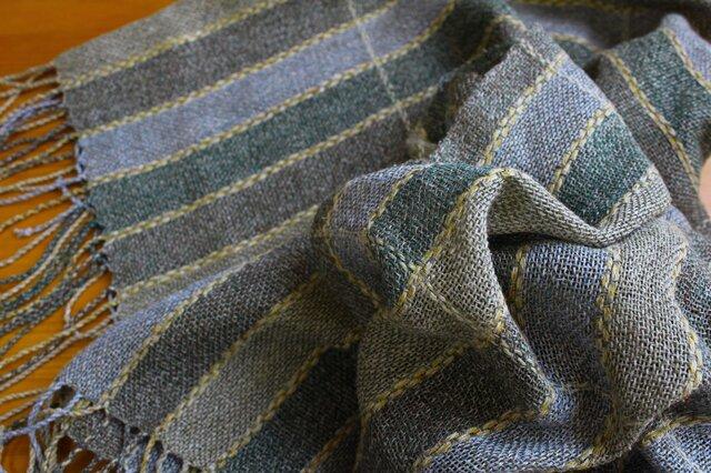 手織のストール avocado -2の画像1枚目