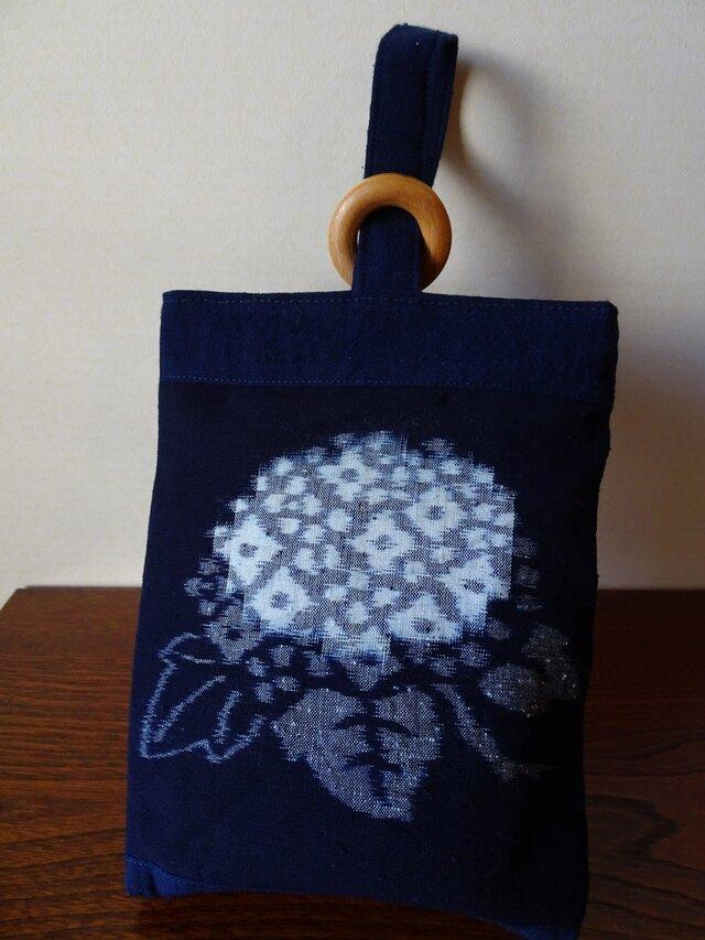 手織り久留米絣:紫陽花と白抜き蝶のミニバッグ(MB-1)の画像1枚目