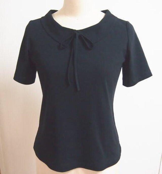 (再販2)ショールカラーのリボン大好きTシャツ(黒色)の画像1枚目