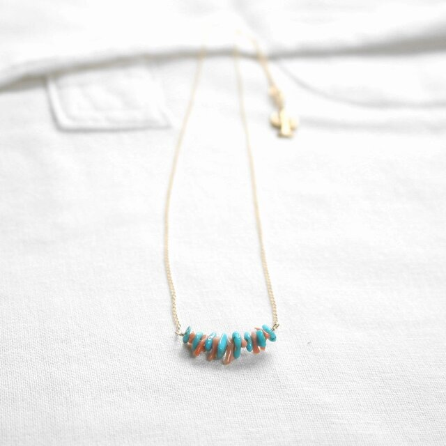 """""""Turquoise & Coral Necklace"""" 14KGFの画像1枚目"""