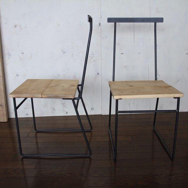 椅子 タモ無垢 ダイニング 鉄背もたれの画像1枚目