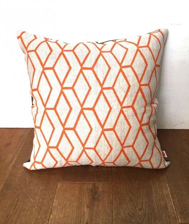 ヴィンテージ生地クッションカバー( Swedish Linen Orange) の画像1枚目