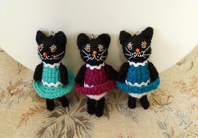キラメ黒猫バッグチャームの画像1枚目