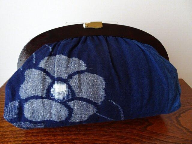 手織り久留米絣:椿と蝶のセカンドバッグ(B-6)の画像1枚目