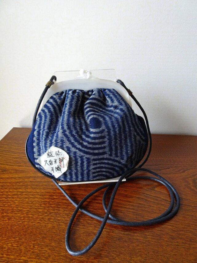 手織り久留米絣:渦巻きと菖蒲のショルダーバッグ(B-42)の画像1枚目