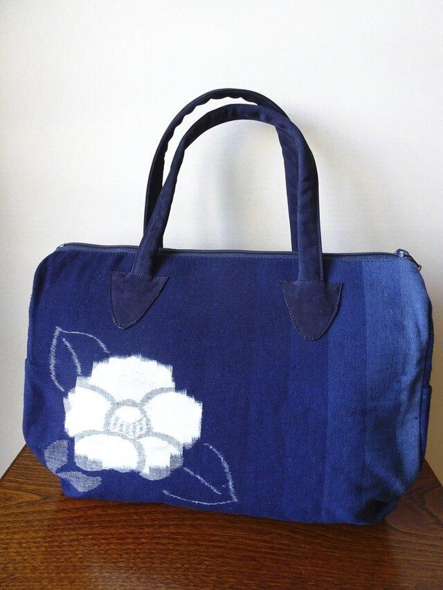手織り久留米絣:椿と蝶のボストンバッグ(B-1)の画像1枚目