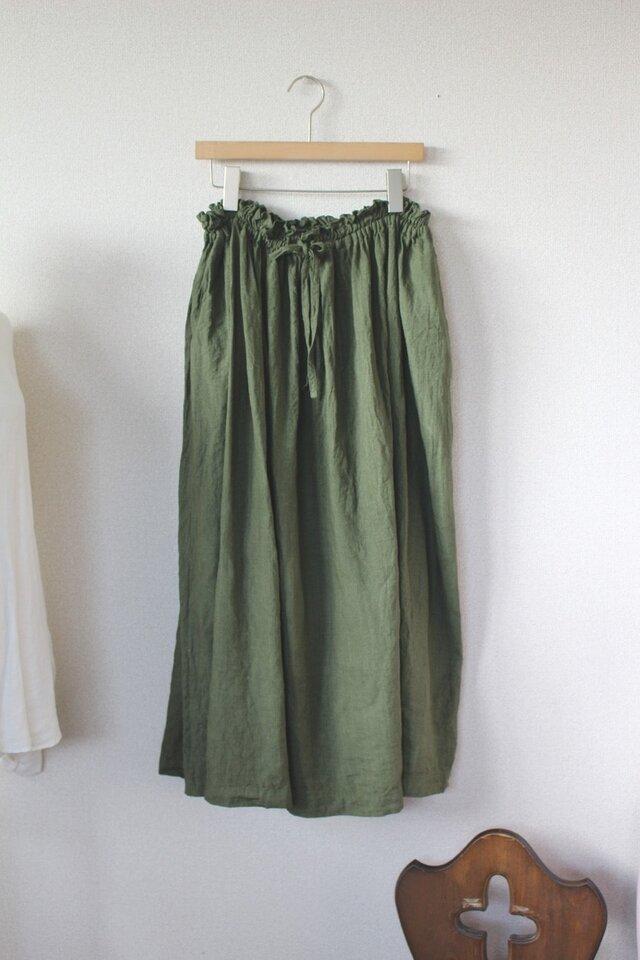 91b3a9203f1904 【受注生産】ギャザーロングスカート*リトアニアリネン*ダークグリーンの画像1