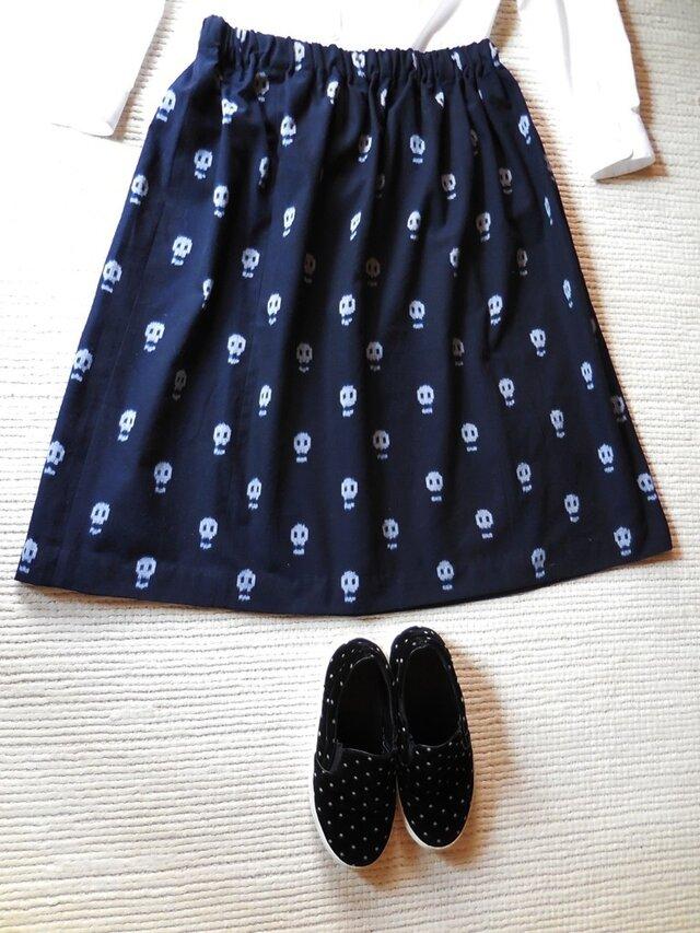 どくろの久留米絣のスカート(濃紺)の画像1枚目