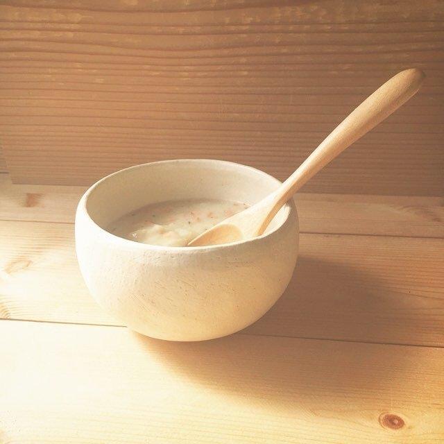 育てるウツワ 揺ら ボウル(地器chiki)白 陶土の画像1枚目
