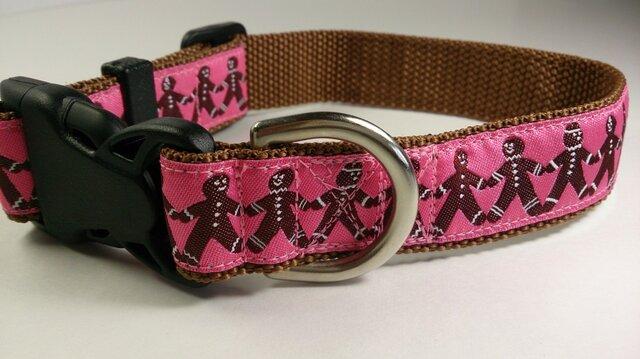 犬の首輪(中型犬~大型犬)USリボン使用(ピンク系xジンジャーマン)の画像1枚目