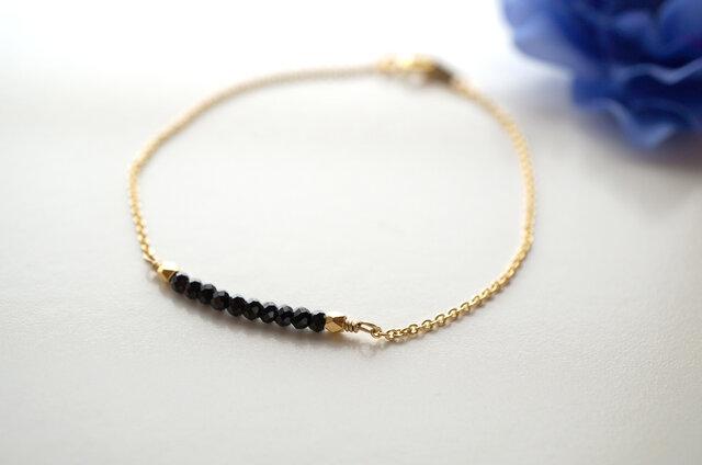 華奢なブラックスピネルブレスレット Noir Spinel bracelet B0015の画像1枚目
