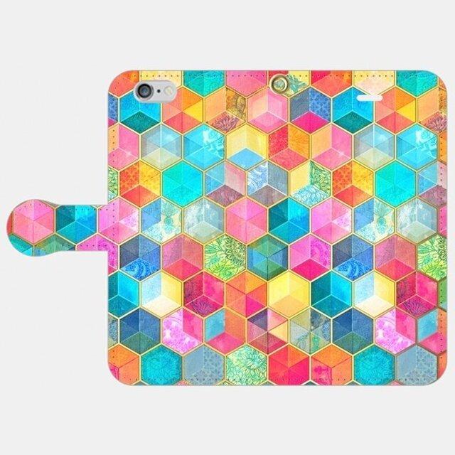 ハニカムボヘミアンパターン  iphone 5/5s/6/6s/SE/7/8/X 専用手帳型ケースの画像1枚目