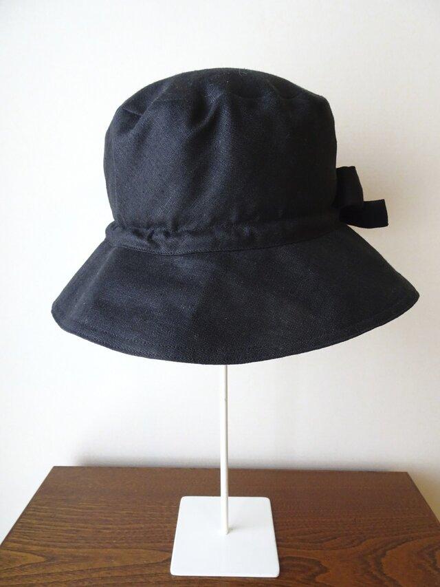 黒の麻と大島の帽子(H-16)の画像1枚目