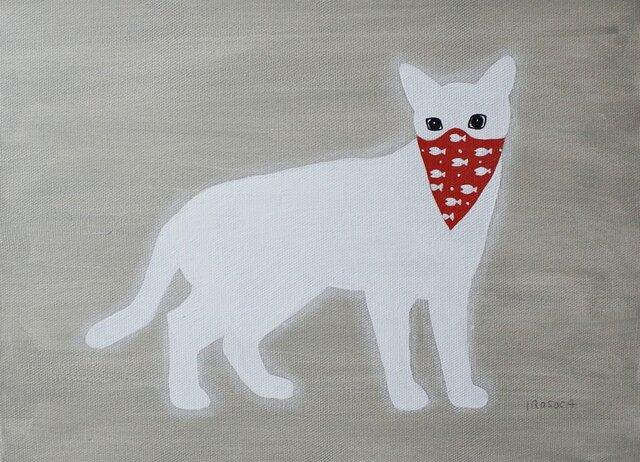 バンダナマスクのネコ(白) F4サイズ絵画の画像1枚目