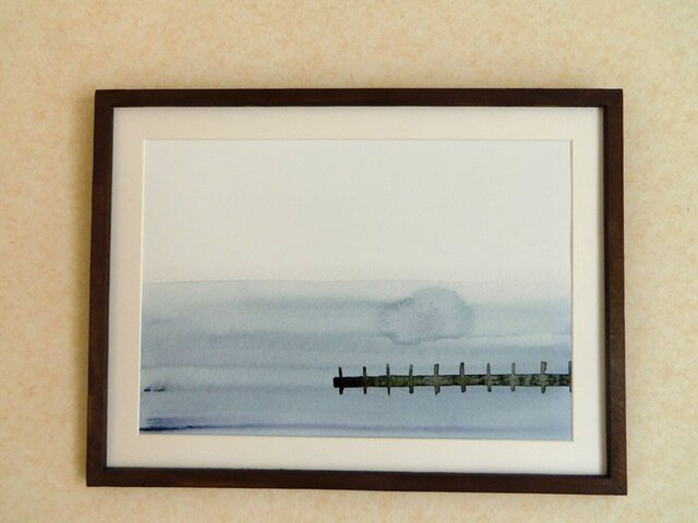 ゆる絵 桟橋  A3 + 額の画像1枚目