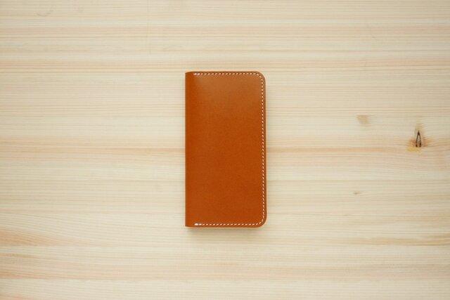 牛革 iPhone8/iPhone7カバー  ヌメ革  レザーケース  手帳型  キャメルカラーの画像1枚目