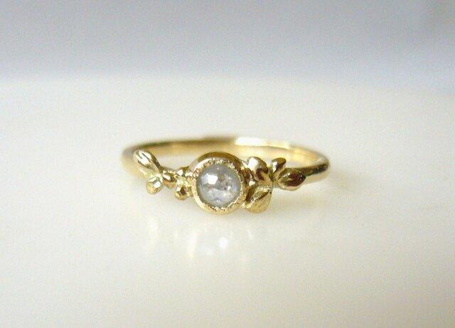 Sold ナチュラルダイヤと植物の指輪(ホワイト)の画像1枚目
