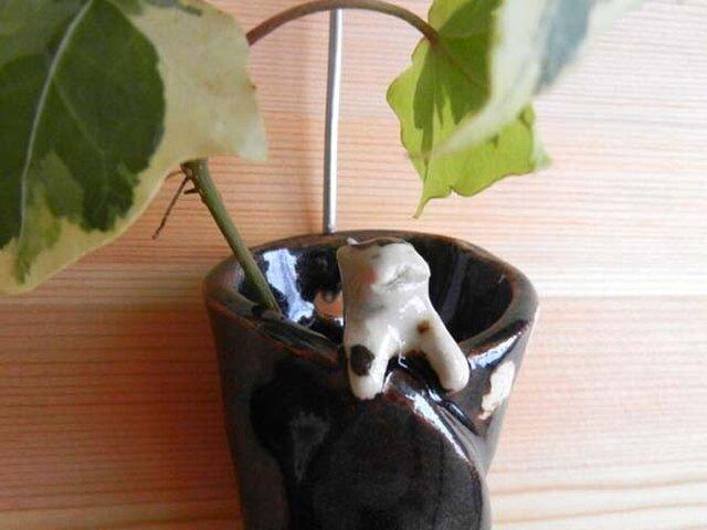 ニャンコの笑う壁掛け花器 bの画像1枚目