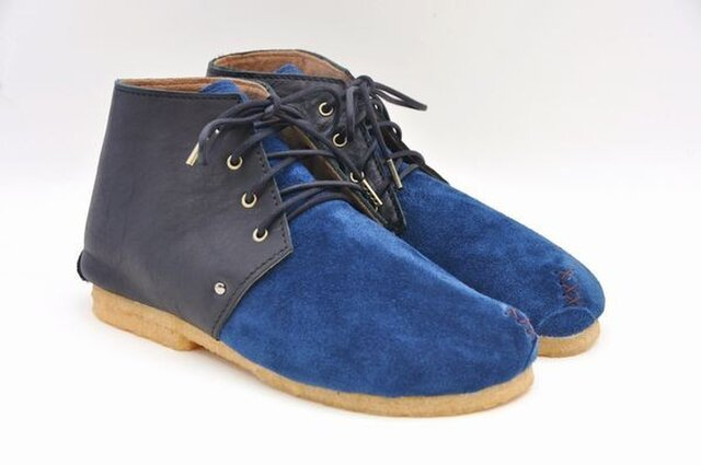 #Tokuyama Shoes:『plie boots』 navy&black suede&smooth leatherの画像1枚目