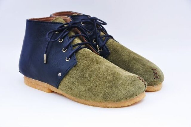 #Tokuyama Shoes:『plie boots』 olive-green&blackの画像1枚目