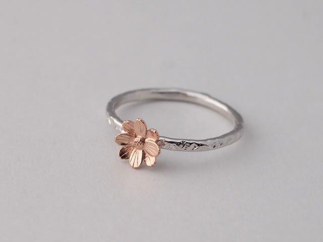秋桜コスモスの指輪ピンクSV925製【受注生産】の画像1枚目