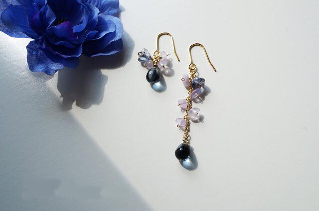 アメジストピアス Lady Smoky Blue&purple earrings P0025の画像1枚目