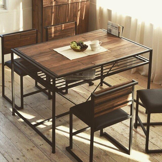 Industrial Pine Wood Dining Table 120cm・インダストリアルダイニングテーブルの画像1枚目