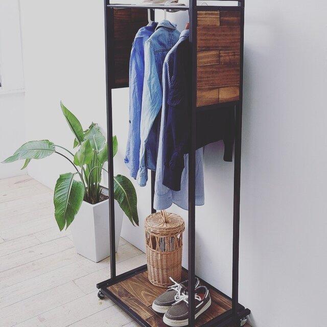 Industrial Pine Wood Hanger Rack 60cm・インダストリアル天然木ハンガーラックの画像1枚目