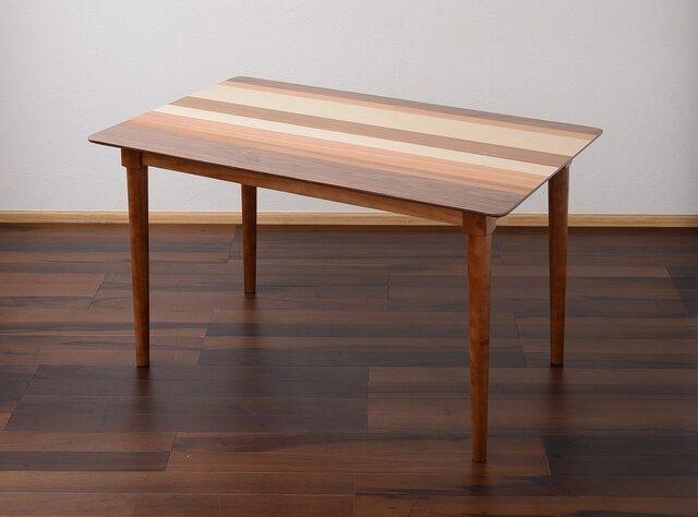 4 Contrast Natural Wood Dining Table 120cm・北欧調天然木ダイニングテーブルの画像1枚目