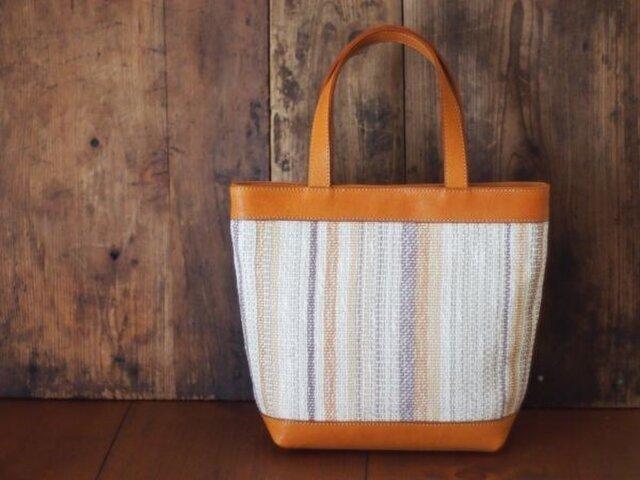 手織りと革のトートバック (mini)の画像1枚目