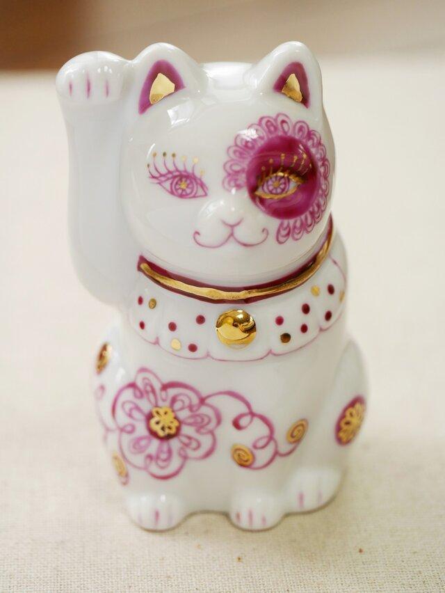 ※受注製作※オリエンタル風招き猫(ボルドー)の画像1枚目
